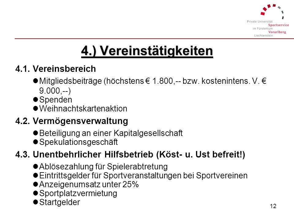 4.) Vereinstätigkeiten 4.1. Vereinsbereich 4.2. Vermögensverwaltung
