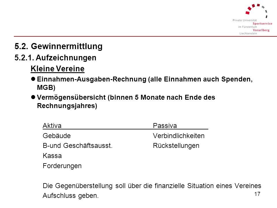 5.2. Gewinnermittlung 5.2.1. Aufzeichnungen Kleine Vereine