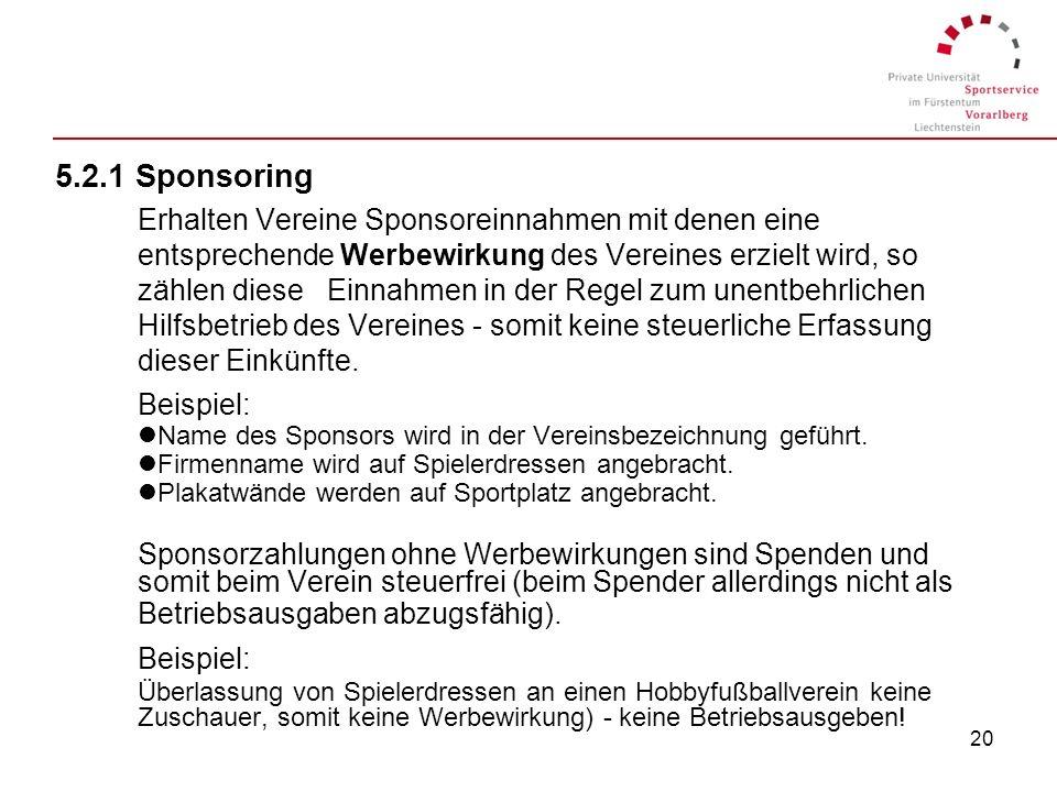 5.2.1 Sponsoring