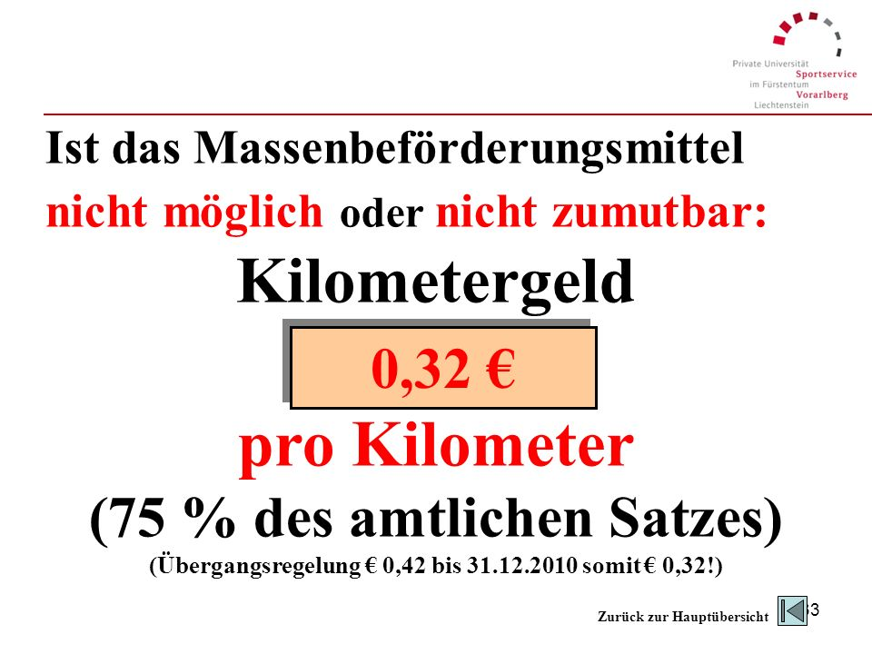 Kilometergeld pro Kilometer