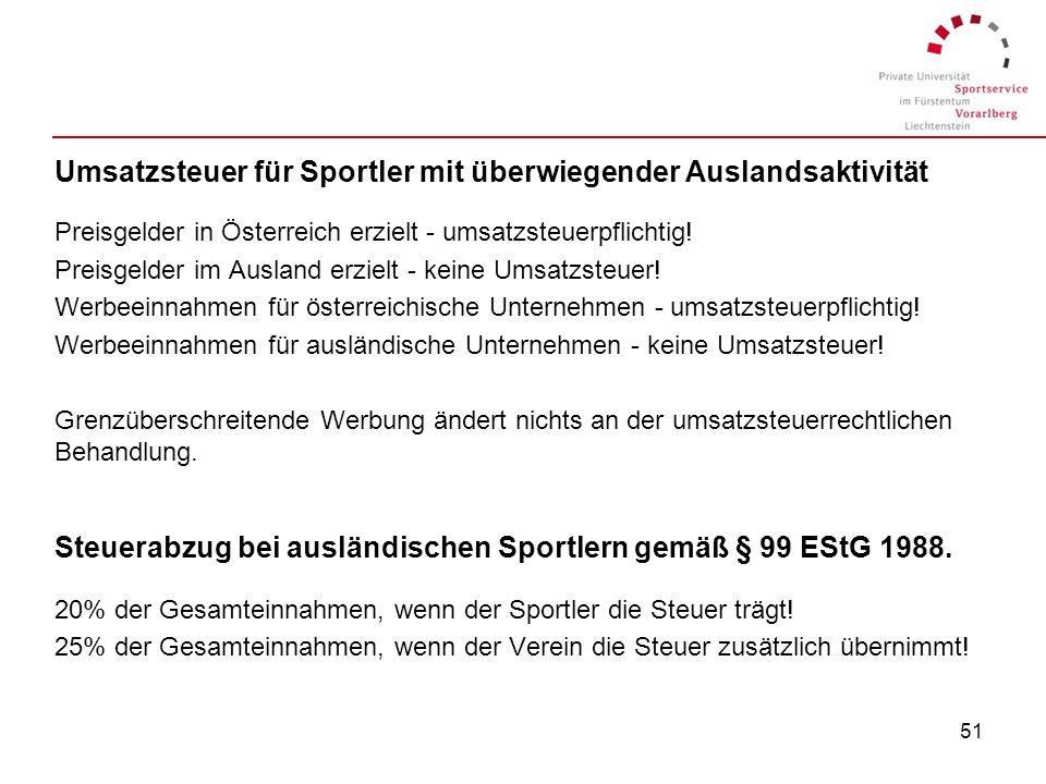 Umsatzsteuer für Sportler mit überwiegender Auslandsaktivität