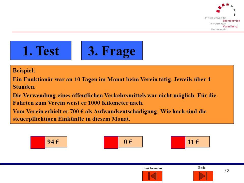 1. Test 3. Frage 94 € 0 € 11 € Beispiel: