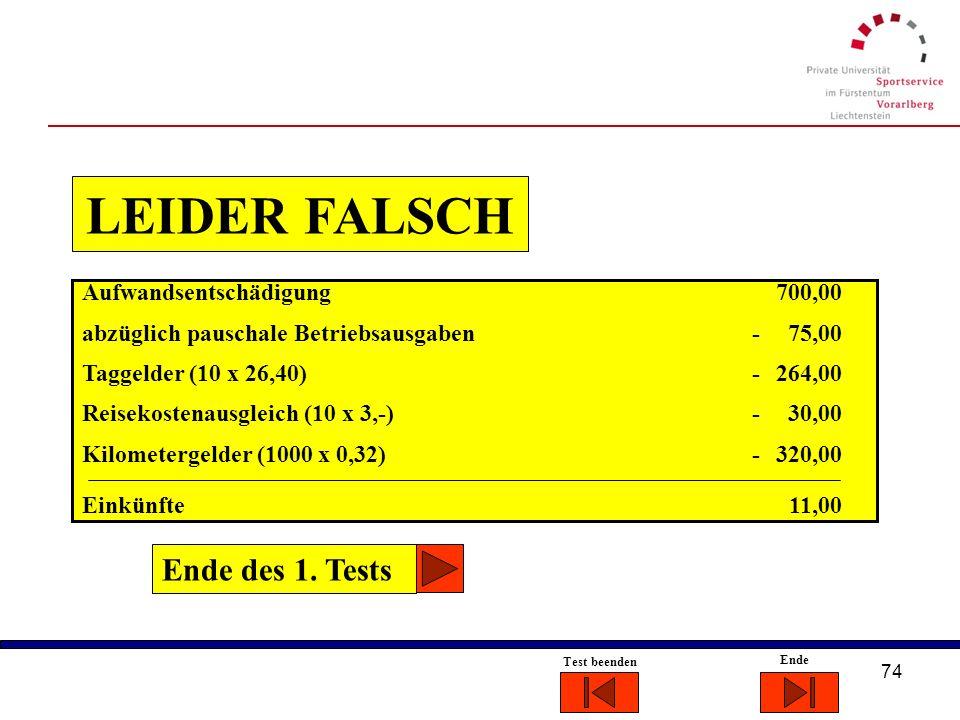 LEIDER FALSCH Ende des 1. Tests Aufwandsentschädigung 700,00