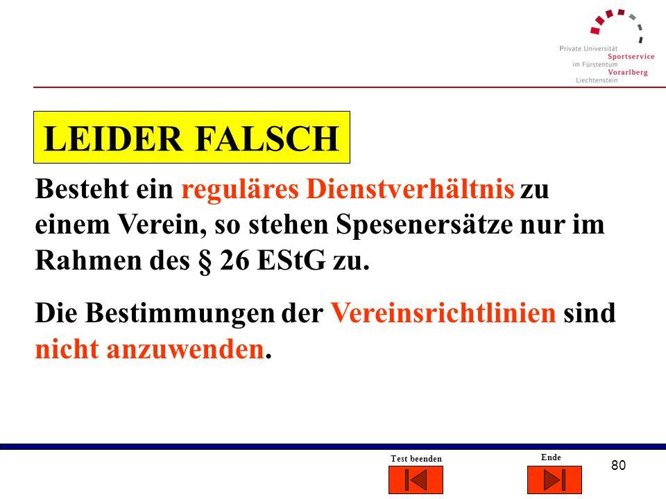 LEIDER FALSCH Besteht ein reguläres Dienstverhältnis zu einem Verein, so stehen Spesenersätze nur im Rahmen des § 26 EStG zu.