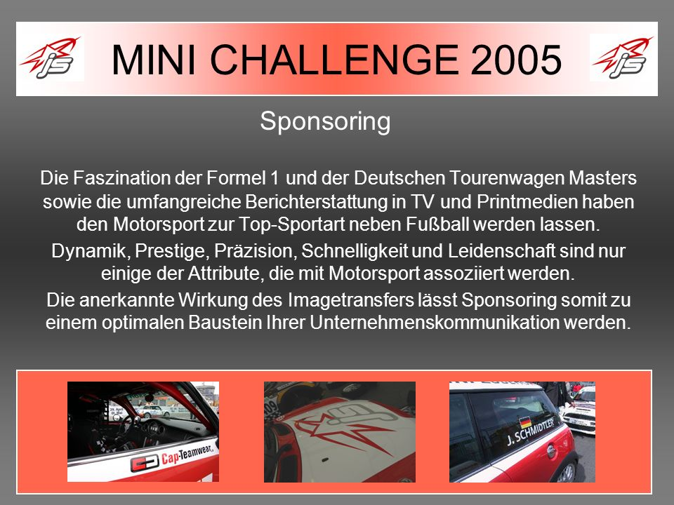MINI CHALLENGE 2005 Sponsoring