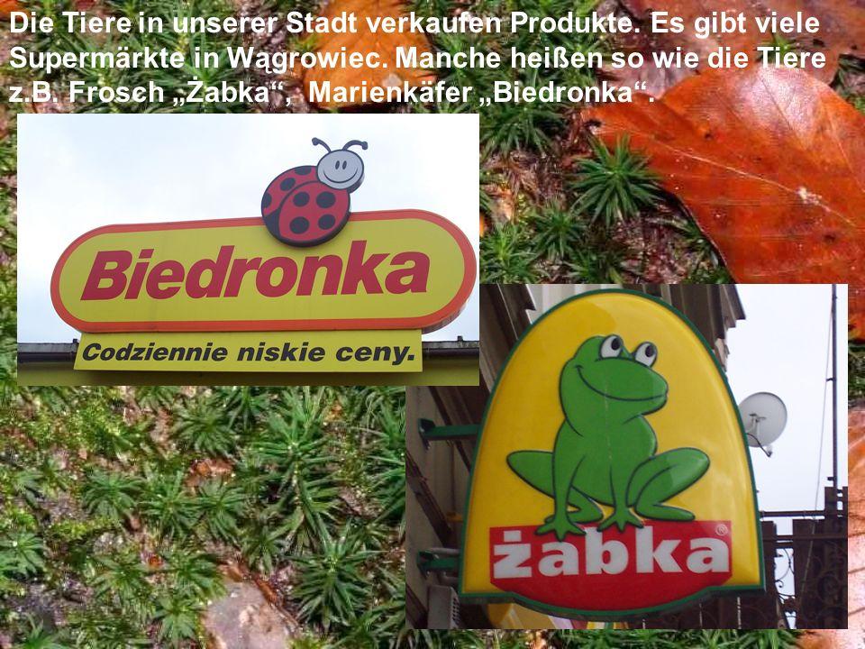 Die Tiere in unserer Stadt verkaufen Produkte