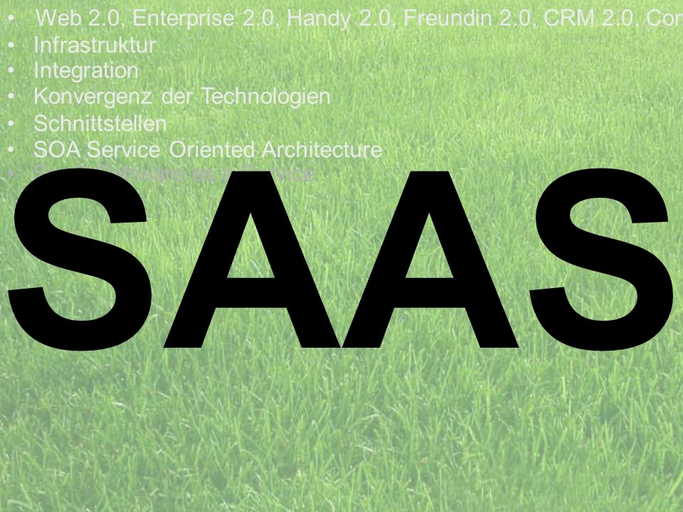 SAAS Web 2.0, Enterprise 2.0, Handy 2.0, Freundin 2.0, CRM 2.0, Com