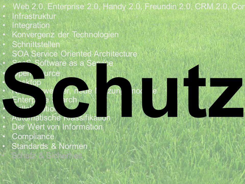 Schutz Web 2.0, Enterprise 2.0, Handy 2.0, Freundin 2.0, CRM 2.0, Com