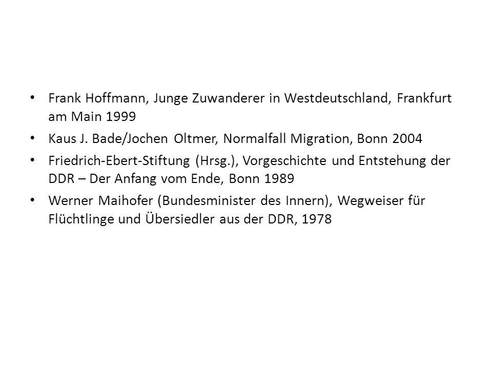 Frank Hoffmann, Junge Zuwanderer in Westdeutschland, Frankfurt am Main 1999