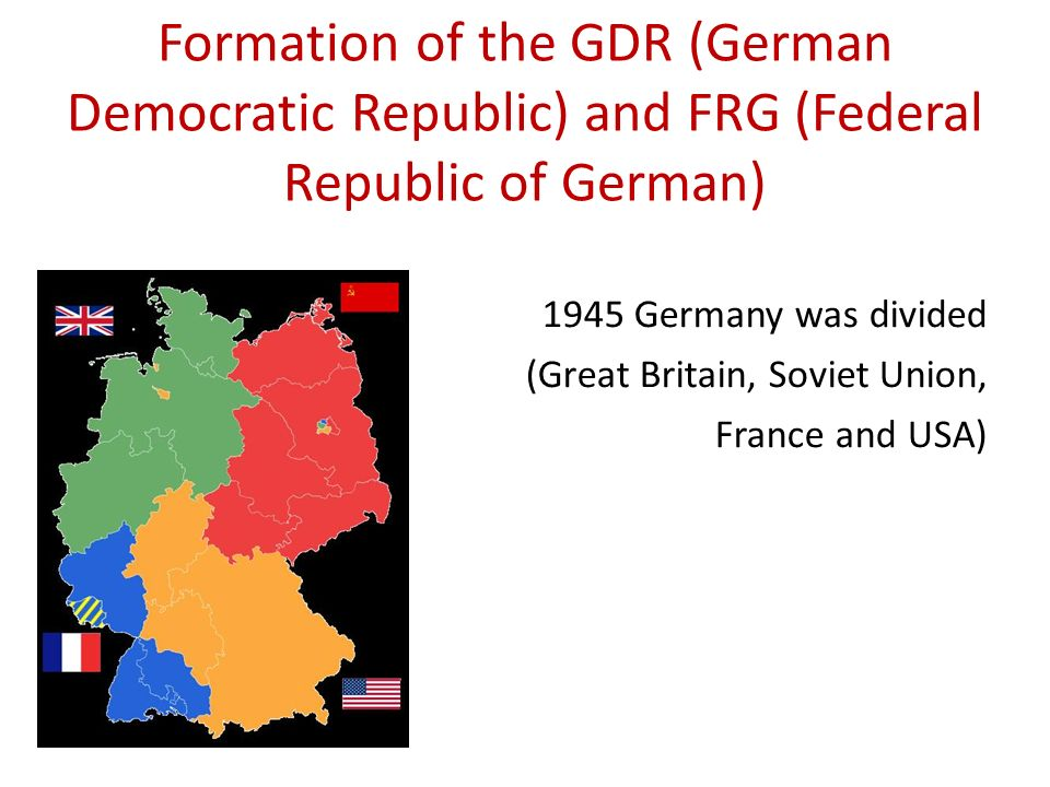 Formation of the GDR (German Democratic Republic) and FRG (Federal Republic of German)