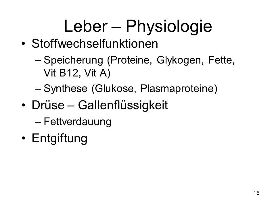 Leber – Physiologie Stoffwechselfunktionen Drüse – Gallenflüssigkeit