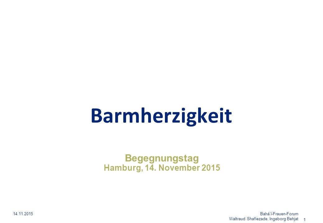 Begegnungstag Hamburg, 14. November 2015