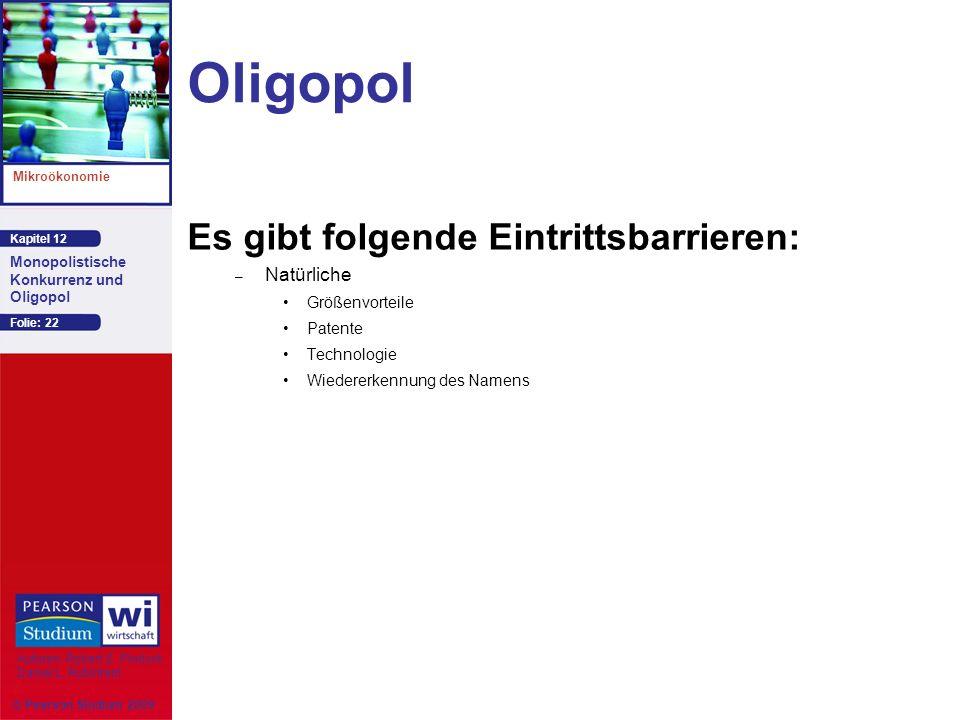 Oligopol Es gibt folgende Eintrittsbarrieren: Natürliche
