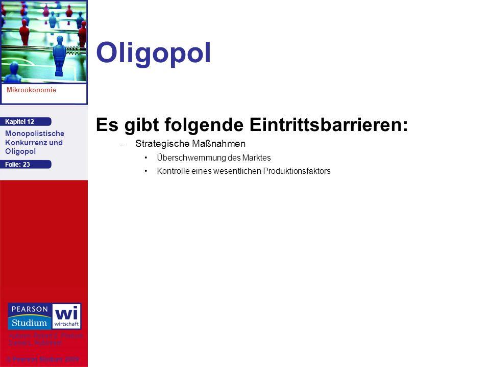 Oligopol Es gibt folgende Eintrittsbarrieren: Strategische Maßnahmen