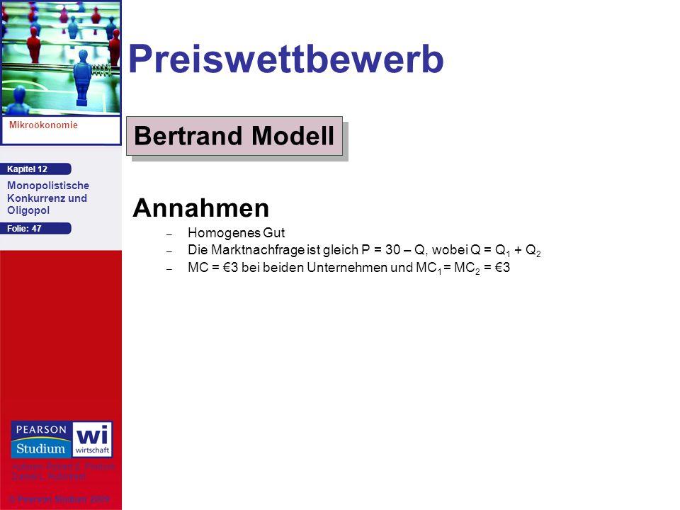 Preiswettbewerb Bertrand Modell Annahmen Homogenes Gut