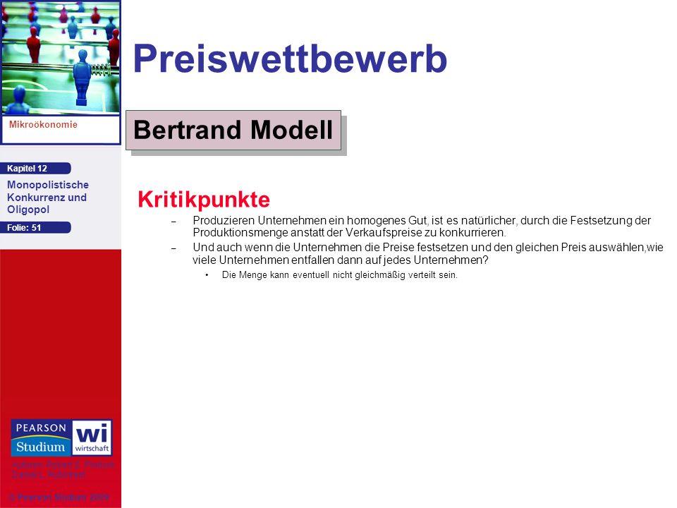 Preiswettbewerb Bertrand Modell Kritikpunkte