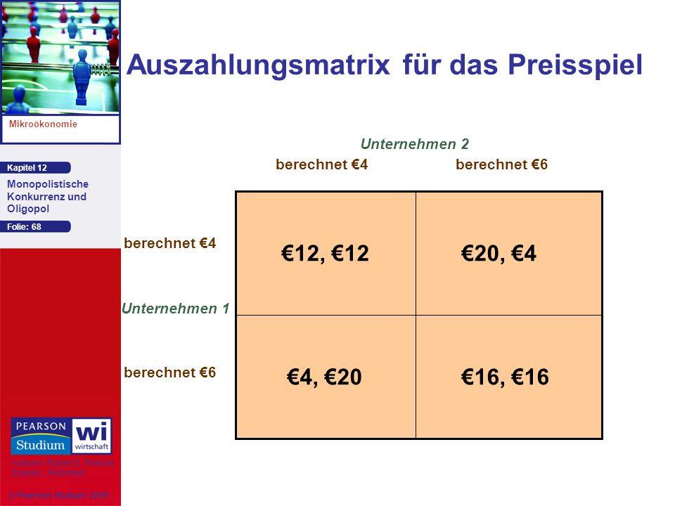 Auszahlungsmatrix für das Preisspiel
