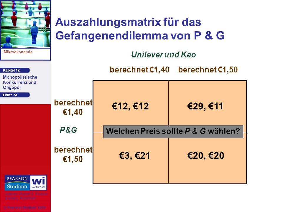 Auszahlungsmatrix für das Gefangenendilemma von P & G