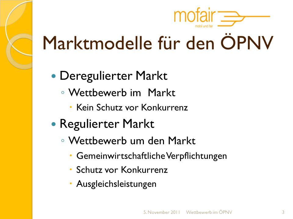 Marktmodelle für den ÖPNV