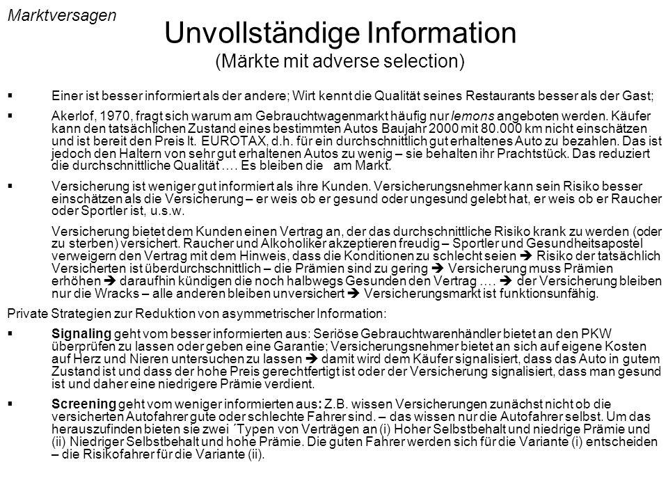 Unvollständige Information (Märkte mit adverse selection)