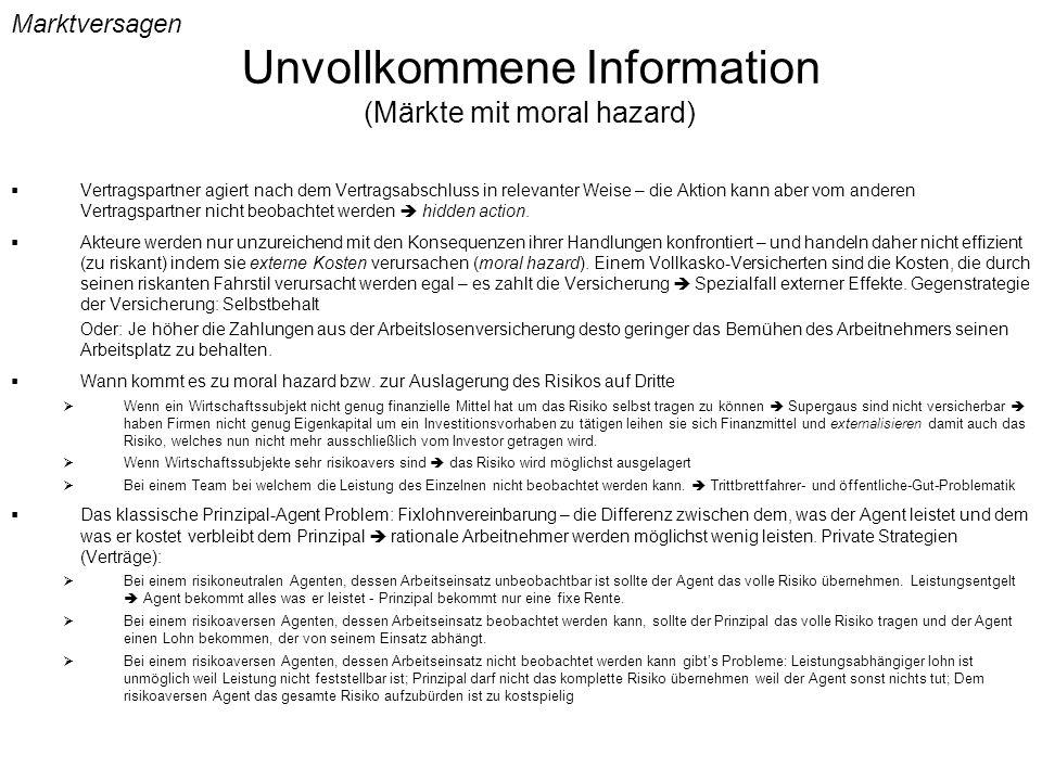 Unvollkommene Information (Märkte mit moral hazard)