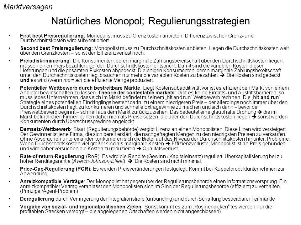 Natürliches Monopol; Regulierungsstrategien