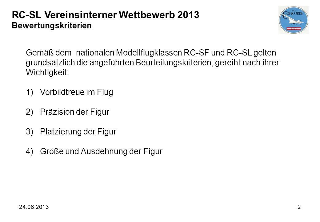 RC-SL Vereinsinterner Wettbewerb 2013 Bewertungskriterien