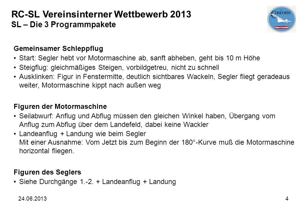 RC-SL Vereinsinterner Wettbewerb 2013 SL – Die 3 Programmpakete