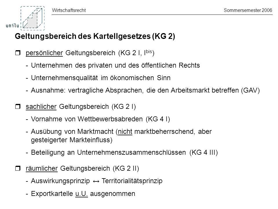 Geltungsbereich des Kartellgesetzes (KG 2)