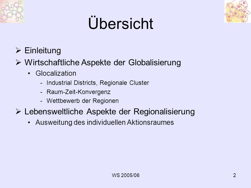 Übersicht Einleitung Wirtschaftliche Aspekte der Globalisierung