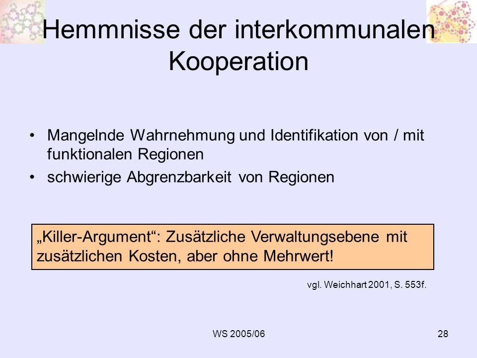 Hemmnisse der interkommunalen Kooperation