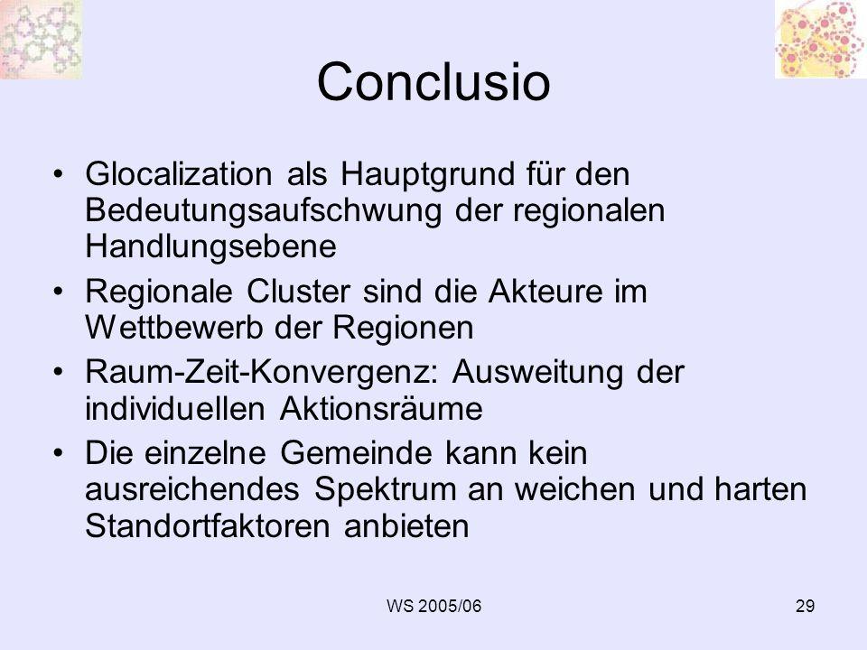 Conclusio Glocalization als Hauptgrund für den Bedeutungsaufschwung der regionalen Handlungsebene.