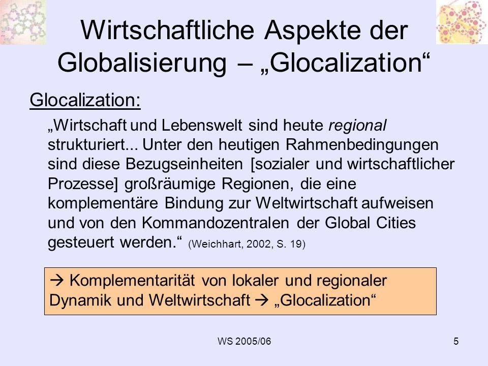 """Wirtschaftliche Aspekte der Globalisierung – """"Glocalization"""