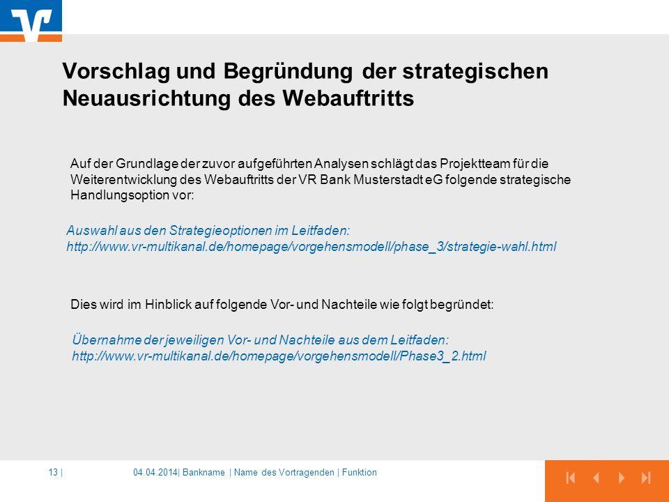 Vorschlag und Begründung der strategischen Neuausrichtung des Webauftritts