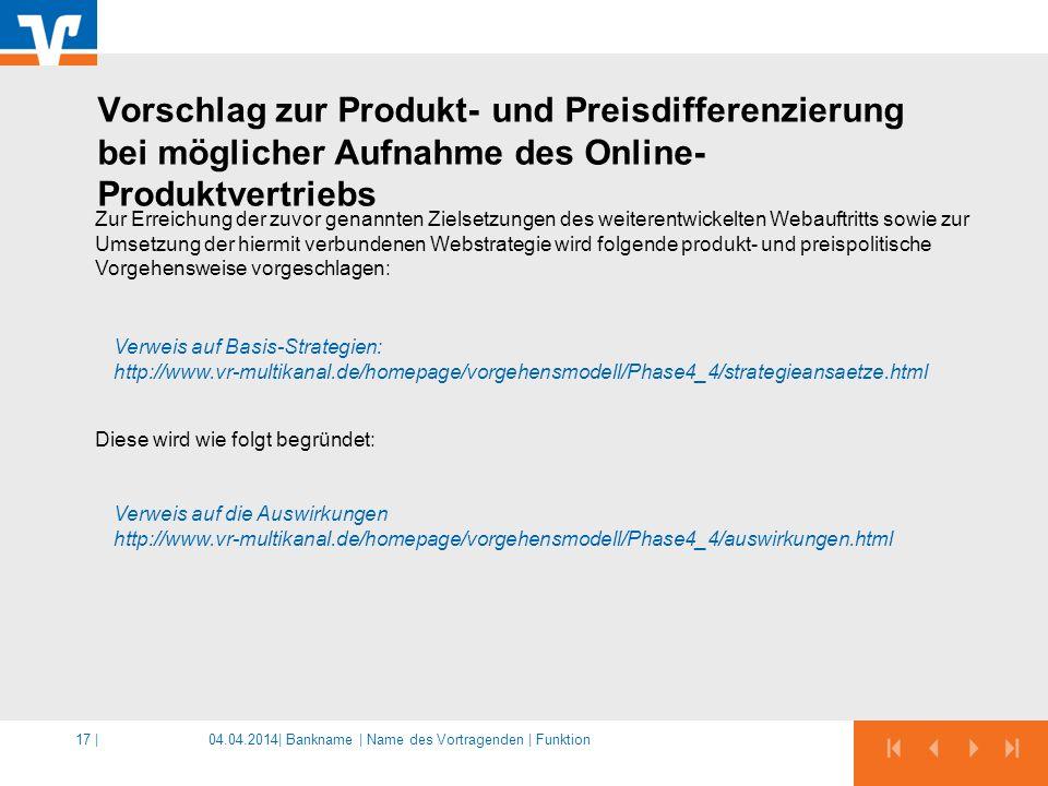 Vorschlag zur Produkt- und Preisdifferenzierung bei möglicher Aufnahme des Online-Produktvertriebs