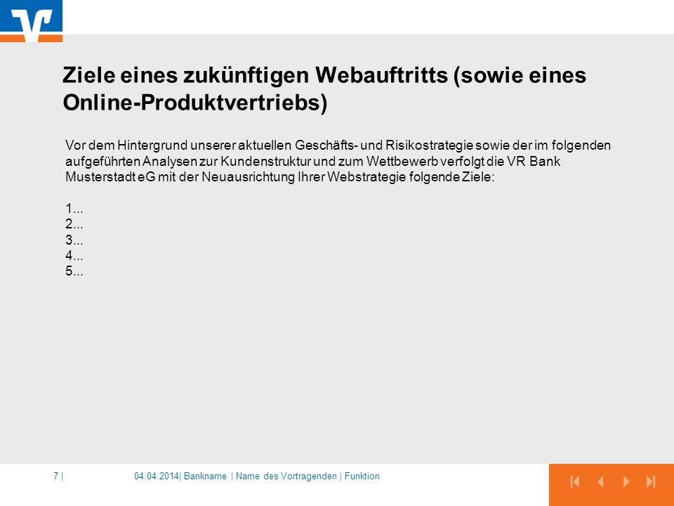 Ziele eines zukünftigen Webauftritts (sowie eines Online-Produktvertriebs)