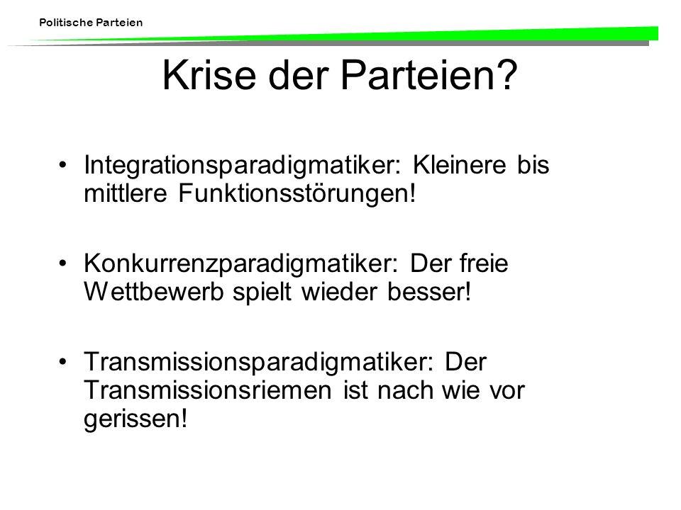 Krise der Parteien Integrationsparadigmatiker: Kleinere bis mittlere Funktionsstörungen!