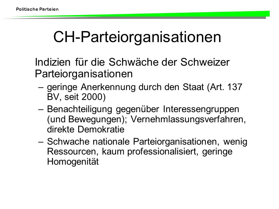 CH-Parteiorganisationen