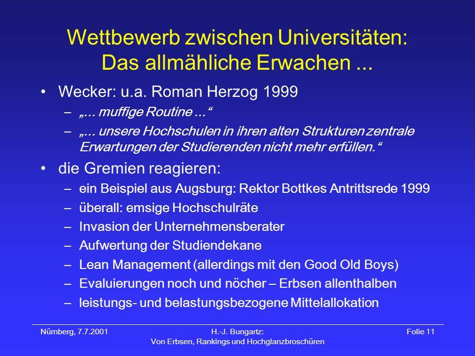 Wettbewerb zwischen Universitäten: Das allmähliche Erwachen ...