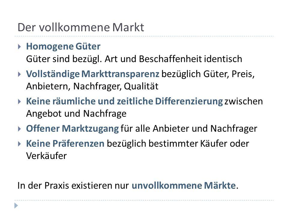 Der vollkommene Markt Homogene Güter Güter sind bezügl. Art und Beschaffenheit identisch.