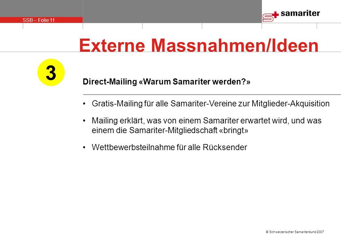 3 Externe Massnahmen/Ideen Direct-Mailing «Warum Samariter werden »