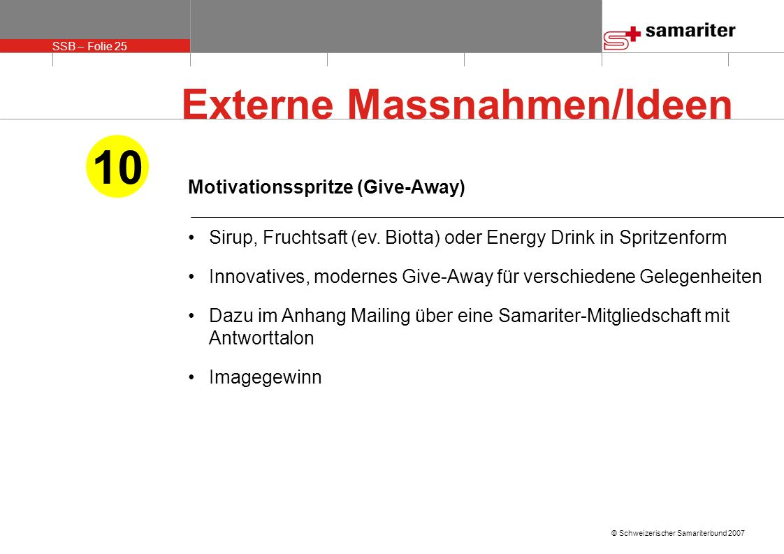 10 Externe Massnahmen/Ideen Motivationsspritze (Give-Away)