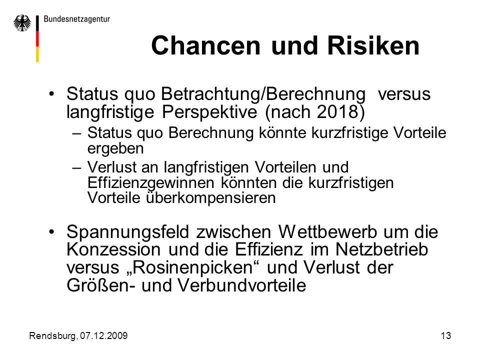 Chancen und Risiken Status quo Betrachtung/Berechnung versus langfristige Perspektive (nach 2018)