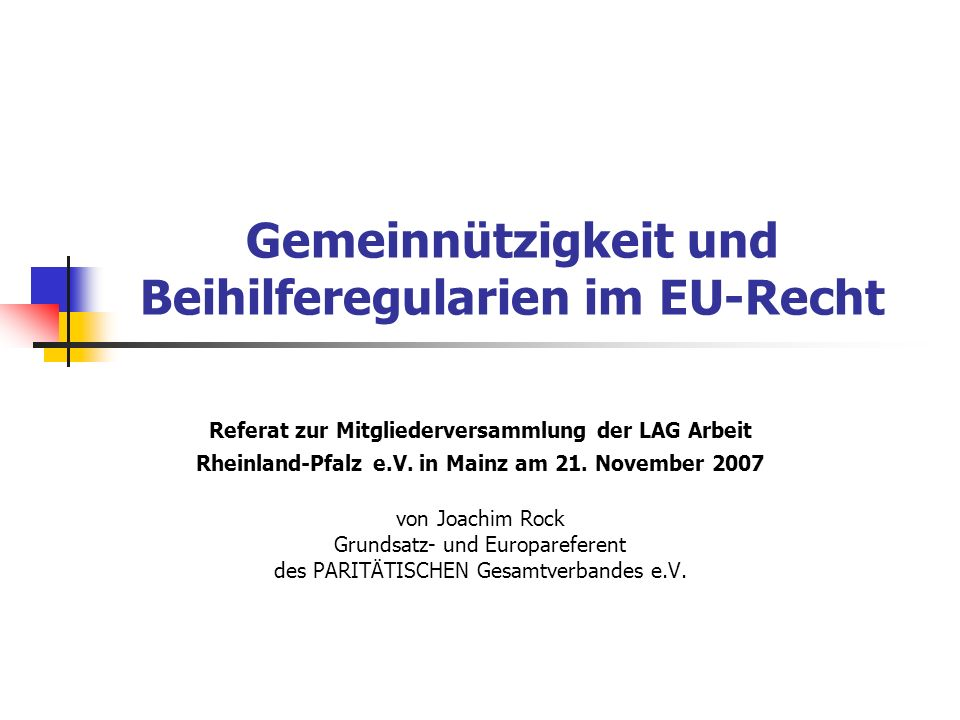 Gemeinnützigkeit und Beihilferegularien im EU-Recht