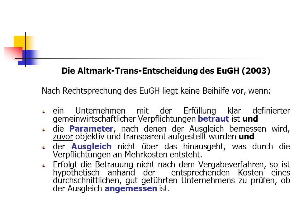 Die Altmark-Trans-Entscheidung des EuGH (2003)