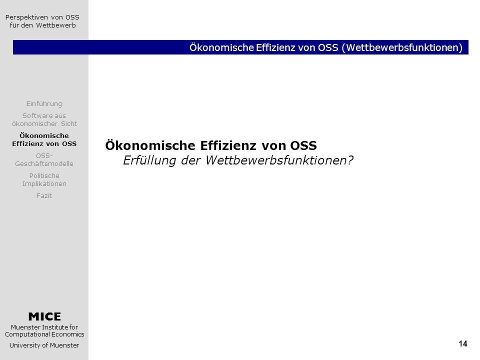 Ökonomische Effizienz von OSS (Wettbewerbsfunktionen)