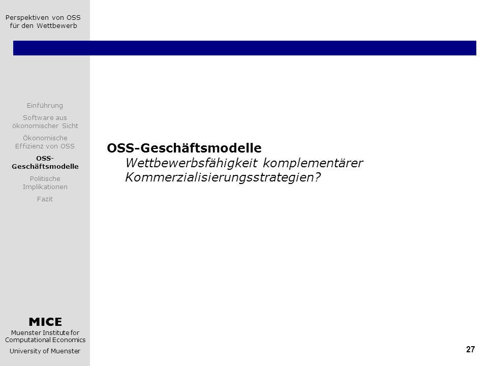 OSS-Geschäftsmodelle Wettbewerbsfähigkeit komplementärer Kommerzialisierungsstrategien