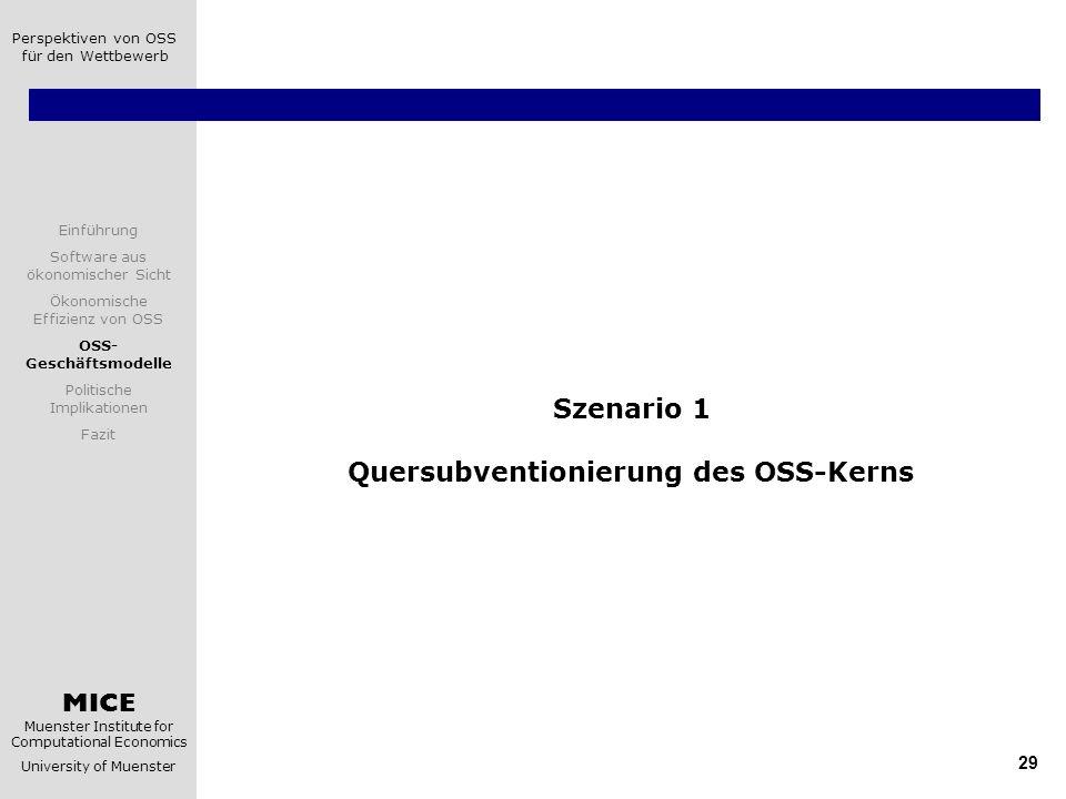 Szenario 1 Quersubventionierung des OSS-Kerns