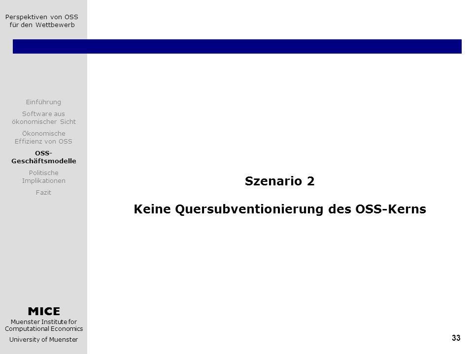 Szenario 2 Keine Quersubventionierung des OSS-Kerns