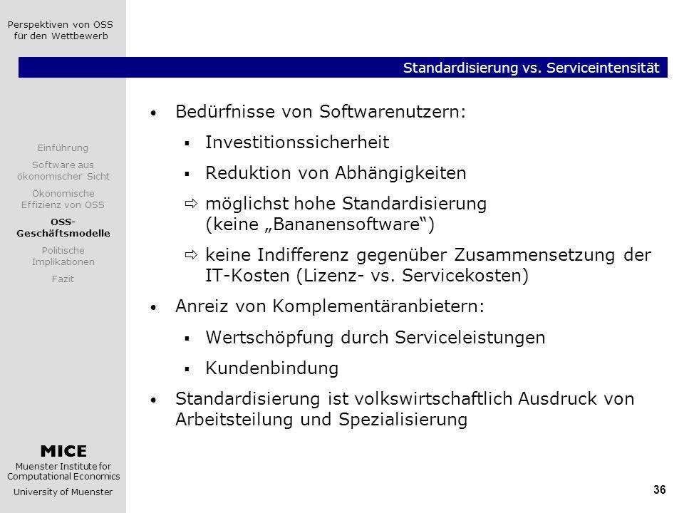 Standardisierung vs. Serviceintensität